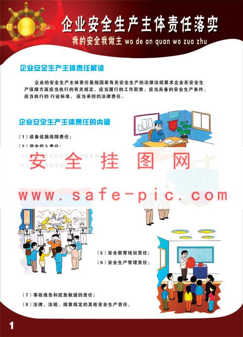 企业安全生产主体责任落实挂图,安全生产挂图,安全挂图