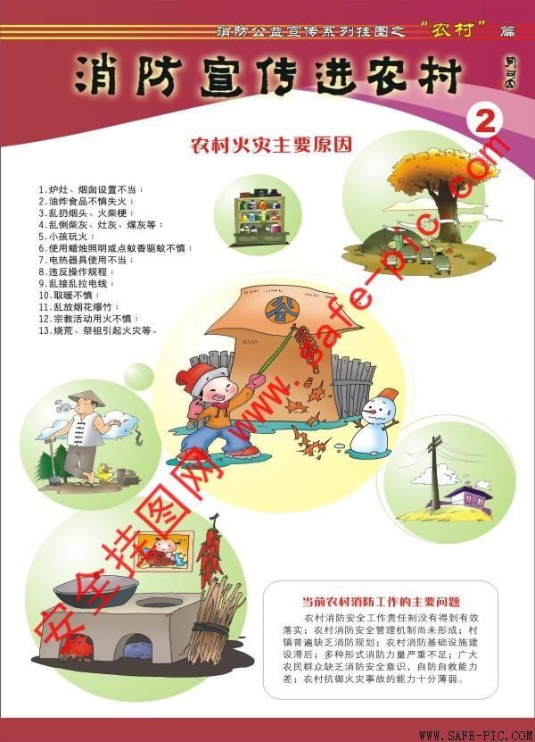 铜版纸-消防宣传进农村挂图 消防宣传进农村海报 an-.