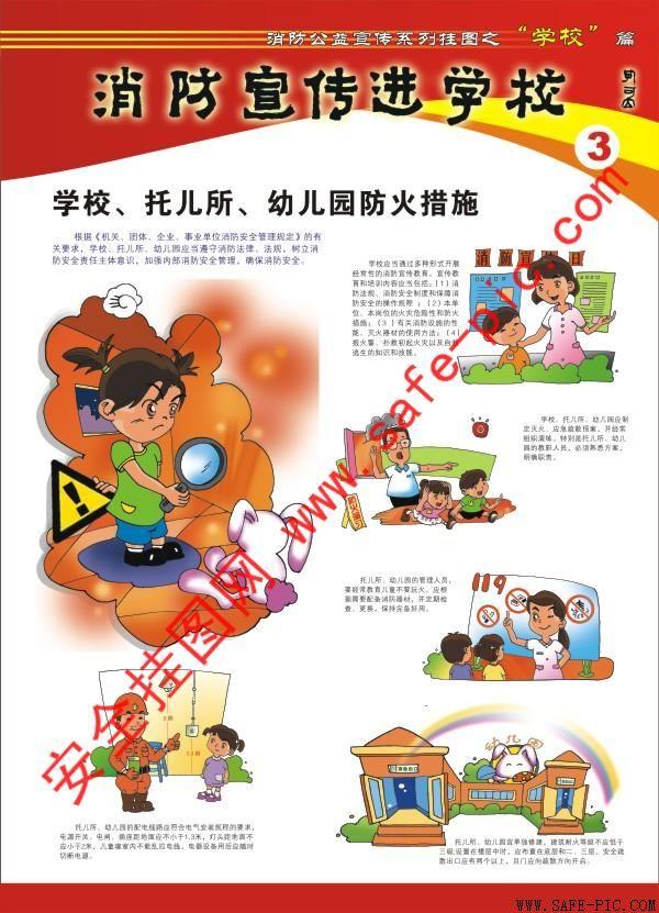 消防宣传进学校挂图 消防宣传挂图 校园消防安全挂图图片