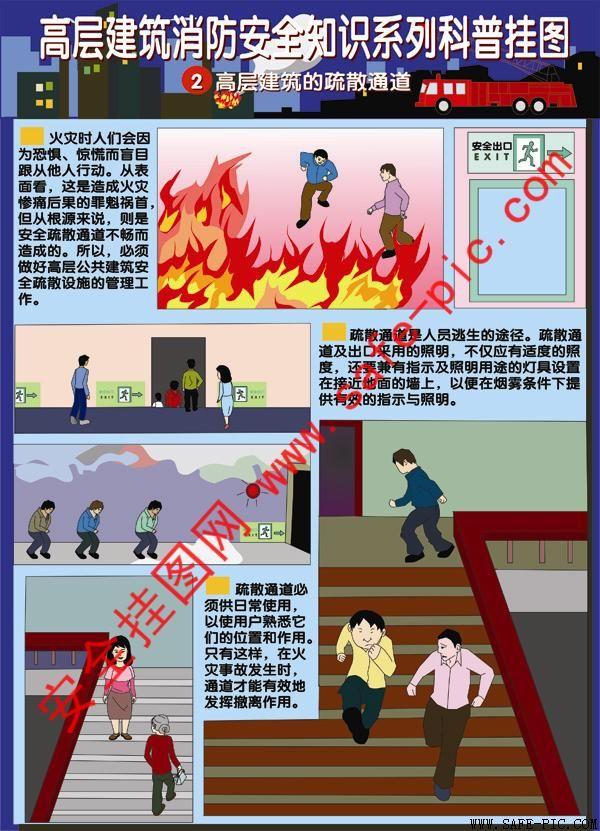 高层建筑消防安全知识科普挂图 层建筑消防安全海报 an2185-消防安全图片